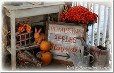 Pumpkins, Apples, Hayride sign