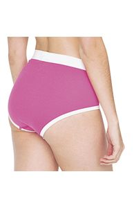 American Apparel Unisex Baby Rib Brief AA025 A form-fitting boxer brief with a white elastic waistband and white contrast binding around leg opening - just £3.82 per pair