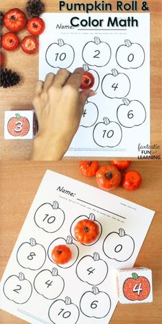 Fall Pumpkin Roll and Color Math Game