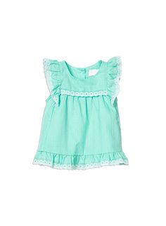 Baby Girls + Accessories Gold Lurex Frilly Top Opal top