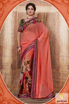 Pavitraa Green Peach Printed Party Wear Saree #sarees #designersarees #stylishsarees #weddingsarees #onlinesarees #indiansarees