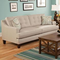 For high street style at a pleasing price point, check out the Chelsea Home Furniture Elm Sofa . Belfort Furniture, Sofa Furniture, Living Room Furniture, Beige Sofa, Sofa Frame, Sofa Shop, Contemporary Sofa, Upholstered Sofa, Living Room Sets