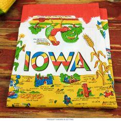 Iowa Map Flour Sack Cotton Souvenir Kitchen Towel   Kitchen Linens   RetroPlanet.com
