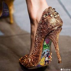 Custom hand painted Beauty and the Beast Stained Glass heels - shoes - Schuhe Damen Cute Shoes, Me Too Shoes, Pretty Shoes, Glass Heels, Disney Shoes, Disney Vans, Disney Jewelry, Crazy Shoes, Beautiful Shoes