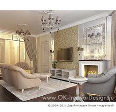 Неоклассическая бежевая гостиная с камином  http://www.ok-interiordesign.ru/ph_dizain-interyera-gostinoy.php