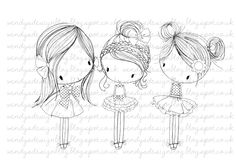 All Dressed Up Three Little Party Girls di alldressedupstamps