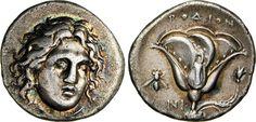 NumisBids: Numismatica Varesi s.a.s. Auction 65, Lot 21 : CARIA - RODI - (304-304 a.C.) Didramma. D/ Testa di Apollo di 3/4...