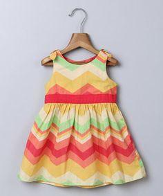 Look at this #zulilyfind! Orange & Red Chevron A-Line Dress - Infant, Toddler & Girls #zulilyfinds