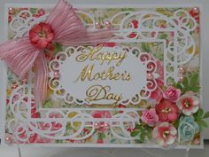 Mother's Day card  using Spellbinders Mystical Embrace. Flowers and background paper from stash.