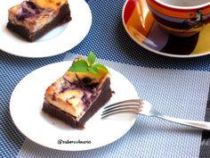 Brownie con tarta de queso y arándanos (blueberry-cheesecake brownie) | El Saber Culinario