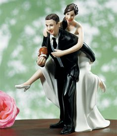 Playful Football Couple Wedding Cake Topper - Wedding Cake Toppers - Wedding Essentials - Wedding Favors & Party Supplies - Favors and Flowers