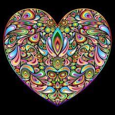 Amo el diseño de corazón del arte psicodélico Foto de archivo - 16247431