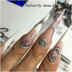 Sweet bloom stiletto nails