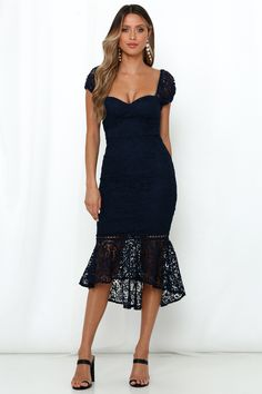 Ease into sophisticated femininity and flair with our Used To Kiss All Night Midi Dress. Royal Blue Midi Dress, Lace Overlay Dress, Floral Lace, Kiss, Party Dress, Girl Outfits, Feminine, Formal Dresses, Dress Shoes