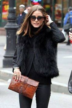 """Olivia Palermo Photos - Olivia Palermo, star of """"The City"""", wears a fur vest while having lunch with a friend at Sant Ambroeus in NYC. After lunch, the pair walked arm in arm down the street to a waiting cab. - Olivia Palermo at Sant Ambroeus in NYC Looks Style, Style Me, Black Style, Style Olivia Palermo, Mode Lookbook, Fashion Lookbook, Look Fashion, Womens Fashion, Fall Fashion"""