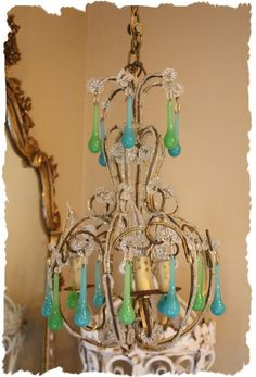 Antiques Italian Beaded Chandelier Sea Glass Prisms