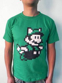 Mario Bros Pixellated Video Game Retro Look Tee Green Cotton Hand Ink Screen Printed Men's T shirt. $19.99, via Etsy.