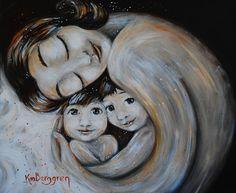Casa imprimir madre con 2 niños con el arte de pelo por kmberggren