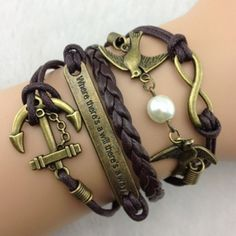 Faddish Anchor and Peace Dove Embellished Multilayered Charm Bracelet... ($4.24) ❤ liked on Polyvore featuring jewelry, bracelets, accessories, deep brown, layered bracelet, brown bracelet, brown jewelry, anchor bracelet and anchor charm bracelet