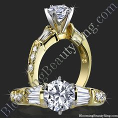#14kGoldEngagementRing with #Baguettes  http://www.BloomingBeautyRing.com