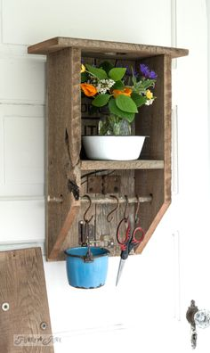 Craft and sewing organizing shelf / Reclaimed wood rustic branch cabinet / FunkyJunkInteriors.net