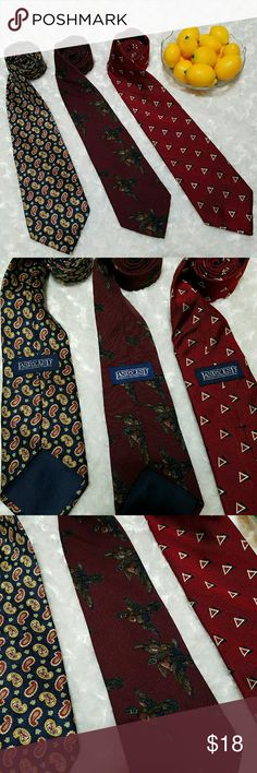 Land's End Men's ties Trio of very versatile and different ties. Easy for your guy to change up his look!  3 Land's End ties. Navy Blue with gold and burgandy paisley- silk  Burgandy pheasants- wool Deep red with black and gold triangles- silk Good condition some very minor flaws like loose threads. Not noticeable when on. Lands' End Accessories Ties