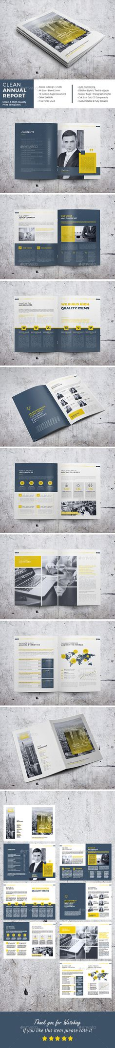 Clean Annual Report Brochure Template InDesign INDD