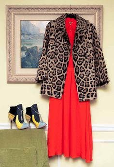 This is a genuine leopard fur coat that belonged to my great grandmother. She just recently passed away, God bless her. And her wardrobe. The little Amish slice of heaven underneath is a super 70's Tory Burch dress that I wore for a mother's day campaign that ran on their site a couple of weeks ago.