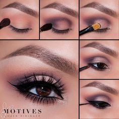 """Motives by Loren Ridinger - Look by Ely Marino. 1. Apply """"Birch"""" (Mavens palette) onto the brow bone. Taking """"Babydoll"""" blush blend slight above the crease 2. Take """"Vino"""" and blend in the outer corner of the eye and sweep into the crease 3. Using """"Allure"""" pat on the entire lid keeping the color underneath the crease 4. Taking Eye Khol in Black and apply to the water line Take """"Vino"""" and smudge underneath the lower lash line 5. Taking """"LBD"""" apply a winged liner"""