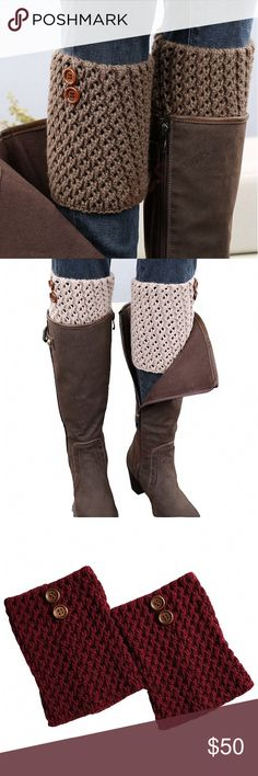 Crochet Boot Cuffs Two Button Detail Leg Warmers Boot cuffs are the perfect winter accessory. The look of leg warmers or boot socks without all the bulk. These have a cute button detail and a chunky, cozy knit.  Black Charcoal Grey Chocolate Taupe Burgundy  ❌ Sorry, no trades. fairlygirly Accessories Hosiery & Socks