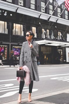 Holiday Noir :: Houndstooth pattern & Pink sweater