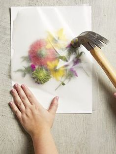 Turn Fresh Blooms into Art with DIY Pounded Flowers This easy pounding technique makes it so easy to transfer bright flower blooms onto watercolor paper. We love this technique to create custom art decor. Learn how to make this easy pounded flower art. Kids Crafts, Creative Crafts, Diy And Crafts, Craft Projects, Craft Ideas, Kids Diy, Easy Crafts, Decor Crafts, Crafts For The Home