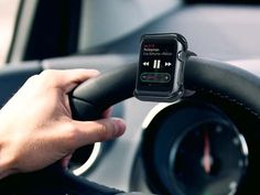 The Satechi Apple Watch Grip Mount provides a place to clip in and attach your Apple Watch to a steering wheel or bicycle handlebar, allowing easy and hands-free access to your device. Apple Watch Iphone, Apple Watch 42mm, Apple Watch Series 2, Apple Watch Bands, Steve Wozniak, Smartwatch, Apple Tv, Apple Watch Accessories, Car Accessories