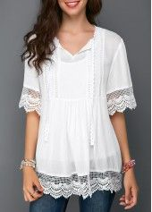 Stylish Tops For Girls, Trendy Tops, Trendy Fashion Tops, Trendy Tops For Women Stylish Tops For Girls, Trendy Tops For Women, Blouses For Women, Ladies Blouses, Women's Blouses, Casual Skirt Outfits, Mode Outfits, White Tunic, White Lace