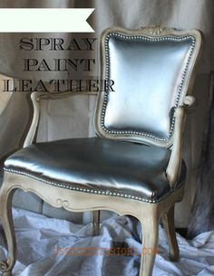 Spray Painted Leather Silver Chair in workshop REDOUXINTERIROS