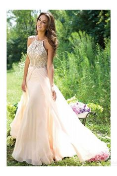 New Design A-Line Beaded Backless Long Chiffon Prom Party Dresses Real Made Chiffon  Evening Dresses(ED0591) 45ceb862d311