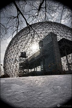 I took this photograph of the Montreal Biosphere in the dead of winter in The vignetting is intentional; Quebec Montreal, Montreal Ville, Quebec City, Monuments, Montreal Architecture, Voyage Canada, Voyager Loin, Cities, Canada Eh