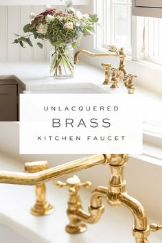 Unlacquered Brass Kitchen Faucet aka Living Finish Get the details on purchasing an unlacquered brass kitchen faucet (also known as uncoated brass or a living finish), including where to shop, what to look for, and what to expect as it ages! Antique Brass Faucet, Black Kitchen Faucets, Kitchen Hardware, Kitchen And Bath, Faucet Kitchen, What Is Living, Blogger Home, Cabin Kitchens, Beautiful Interior Design