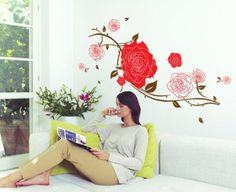 http://Amazon.com - YYone Big Roses with Some Leaves Removable Wall Decal Home Decor Sticker Flower Mural -