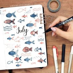 lil fishies for july 🐠✨ my july 2019 plan with me & bullet journal setup vi. Bullet Journal August, Bullet Journal School, Bullet Journal Cover Ideas, Bullet Journal Monthly Spread, Bullet Journal Notebook, Bullet Journal Layout, Journal Covers, Bullet Journals, Bullet Journal Inspiration Creative