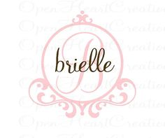 Initial and Name Vinyl Wall Decal with Frame Border - Baby Nursery Monogram Vinyl Lettering Decal Sticker 22H x 22W FN0207