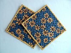 Quilted Primitive Floral Pot Holders / Hot Pads by DocksideDesigns, $12.00