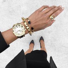"Micah Gianneli on Instagram: ""Today's black + gold details... @karllagerfeld + @ambersceats ✨"""