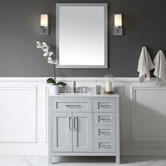 "Tahoe 36"" Single Bathroom Vanity Set with Mirror in Dove Gray"