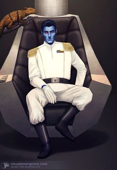 A Star Wars fan art piece of Grand Admiral Thrawn, a character from the Star Wars expanded universe. Star Wars Film, Star Wars Rpg, Star Wars Fan Art, Star Wars Poster, Star Wars Rebels, Star Trek, Thrawn Star Wars, Thrawn Trilogy, Grand Admiral Thrawn