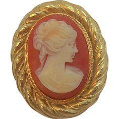 Sweet Lisner Thermoset Plastic Textured Goldtone Metal Cameo Brooch