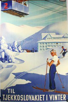 Original Deco travel ski poster, Czechoslovakia