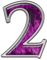 Reflective Number 2 with Inferno Purple Flames :: Inferno Purple Reflective Vinyl Lettering and Numbering :: Letters and Numbers :: Weston Signs Inc. All Things Purple, Purple Stuff, Printable Numbers, Blue Flames, Alphabet And Numbers, Vinyl Lettering, Buick Logo, Bumper Stickers, Monogram