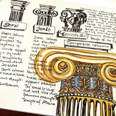 Column of 3 Classical Order Architectural style: day 10 of #kato21day Kat McElravey.ivannikova sketch marathon. My favourite is the composite column which is a combination of leaves and scrolls! This is a Roman-designed column style that combines the Greek-designed Ionic and the Corinthian orders of architecture. The Arch of Titus may be the first instance of this Roman Order of Architecture in the first century AD. #column #archidaily #sketchbook #artnerd #pillars #corinthian #doric #ionic #oldbuilding
