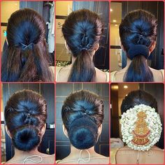 ❤️Here's a step-by-step pictorial on how we created the gorgeous 🌼Jasmine Galore bun 🌼⁣ ⁣ Tease the crown to create a sleek/textured… Hairstyles Bridal Hair Buns, Bridal Hairdo, Hairdo Wedding, South Indian Wedding Hairstyles, Wedding Hairstyles For Long Hair, Indian Hairstyles, Saree Hairstyles, Bride Hairstyles, Hairstyle Ideas